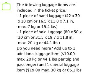 フリックスバス荷物の大きさ