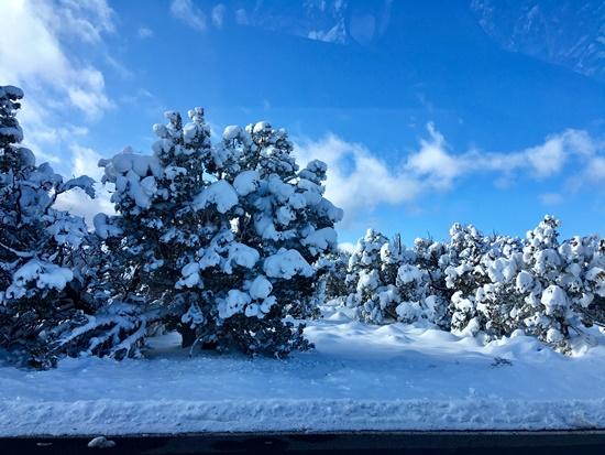 グランドキャニオン回りの道路の雪景色